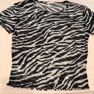 Zebra Print Mesh Top